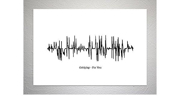 Funky Art Prints Coldplay Stampa Artistica con Canzone Sound Wave Fix You Formato A4
