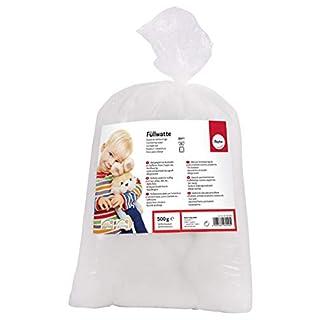 Rayher 30195000 Füllwatte hochflauschig 500 g Beutel, Füllmaterial 100% Polyester, weiß, Flocken, waschbar 95 Grad, Bastelwatte, Kissenfüllung, Füllmaterial, Stopfwatte