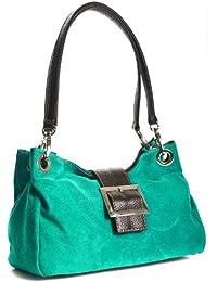 Femme Italienne Petit Sac en Cuir Suédé - réel cuir suédé Italienne Comprend un sac de rangement de protection de marque et un Charme 28x18x11 cm (LxHxP)