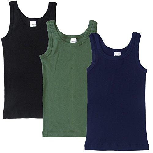 HERMKO 2800 3er Pack Jungen Achselhemden aus 100% Bio-Baumwolle, Größe:104, Farbe:Mix s/m/o (Jungen Unterhemd)