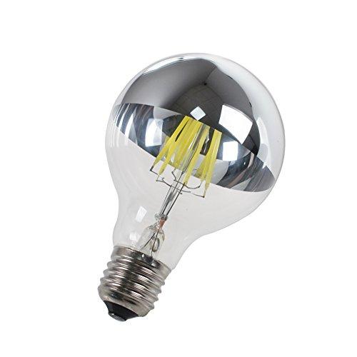 Luxon a LED 6W 240V G80Corona specchio argento lampadina, E27Base, media cromato siliver forma sferica lampadina, risparmio energetico bianco puro 6000K, dimmerabile,