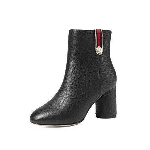 [rau mit] Womens stiefel Rind leder Trendy Winterstiefel Winterstiefel-schwarz Fußlänge=25.3CM(10Inch) (Herren Kleiden Stiefel Zip)
