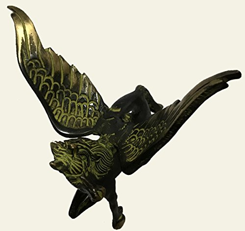 Antiques World Antique FengShui Brass Myth Auspicious Success Wings Flying Angel Greek Horse Statue Fantasy Magic Collectible Art Sculpture Resine Metal Abstract Sculpture Creative Garden AWUSAAS 016 -