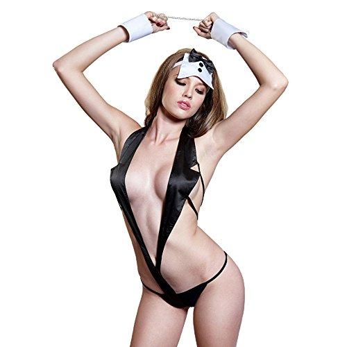 Wanson Dessous Für Frauen Wild Temptation Katze Mädchen Spiel Magd Handschellen Uniform Outfits Cosplay Unterwäsche Sets Schwarz Milch Seide Anzug (Katze Bunny Kostüm)