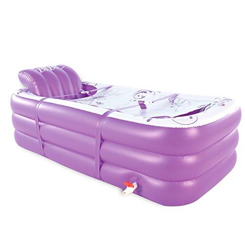 ERHANG Badewannenspritzschutz Aufblasbare Badewanne Erwachsenen PVC-Tragbare Faltende Aufblasbare Badewanne mit Luftpumpe Für Familien-Badezimmer-Badekurort,Purple