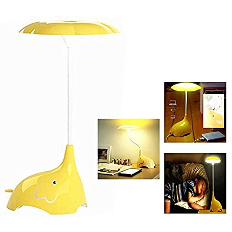 Itian Rechargeable Children Night Light, Cute Elephant LED Desk Lamp Table Lamps?Touch Sensor Control Bedroom Lamps, 3 Levels of Dimmable Brightness Book Light, Baby Lamp Baby Nightlight