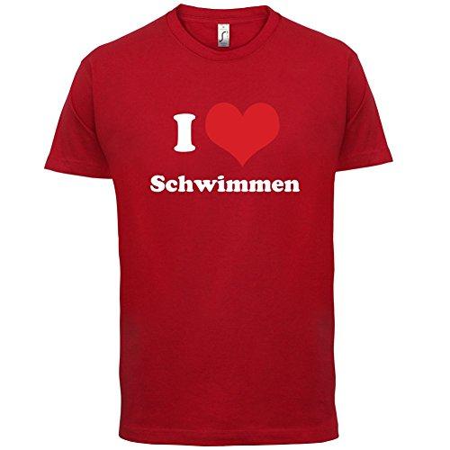 I Love Schwimmen - Herren T-Shirt - Rot - (Team Kostüm Wettbewerb)