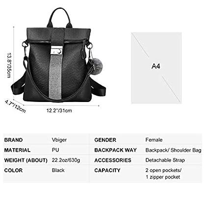 41fft3whU5L. SS416  - VBIGER Bolsos mochila mujer Antirrobo Mochila de Cuero PU Mano Mochilas Casual Bolsa Bandolera Messenger Bag Backpack