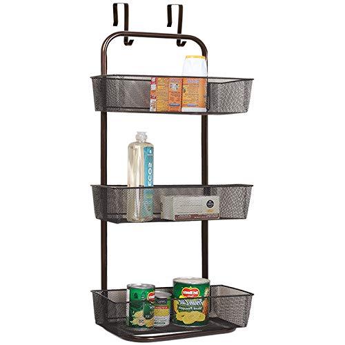 Nandae Hängeregal Türregal zum Einhängen mit 3 Körbe für Küche und Bad Dunkelbraun