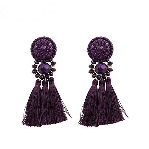 Ohrringe Gold/Silber/Rose Gold/Multi Farben Tropfen Ohrringe Böhmen Kunststoff Perlen Quaste Ohrringe für Frauen Fringe Ohrring, Big Size-Dark Purple ()