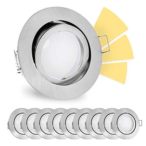 linovum® fourSTEP LED Einbaustrahler schwenkbar 10er Set inkl. Leuchtmittel 230V dimmen ohne Dimmer - Deckenspot gebürstet rund warmweiß 5W -