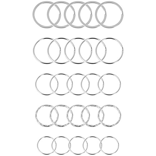 Preisvergleich Produktbild com-four® 25x Schlüsselringe aus gehärtetem Stahl,  Sortiment Metallringe,  in silberfarben in verschiedenen Größen (025 Stück - Mix rund)