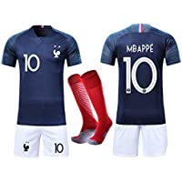 VOOA Maillots de Football Enfants de France Soccer Jersey 2018 Coupe du Monde France 2 Étoiles Football T-Shirt et Short Chaussettes