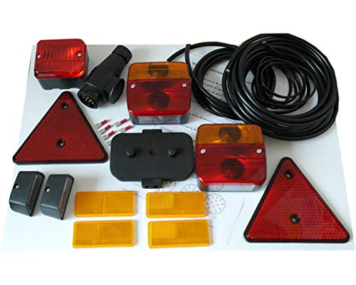 HGW Anhängerbeleuchtung Set - alle Leuchten, Reflektoren u. Kabel für Ihren Anhänger (Leuchte Reflektor)