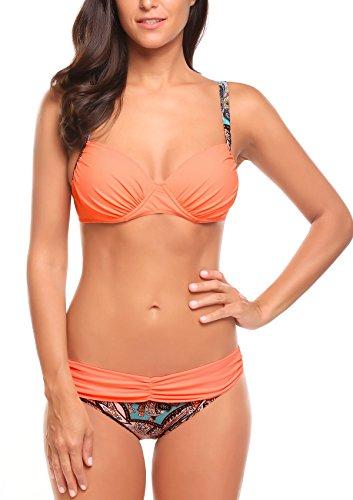 ADORNEVE Damen Badeanzug Bikini Set in Blockfarben Orange