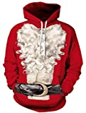 Ocean Plus Herren Kapuzenpullover Lebensecht 3D Grafik Hoodie mit Kängurutasche Pullover mit Kapuze Sweat Hood (XXL/3XL (Brustumfang: 126-146CM), Weihnachtsmann)
