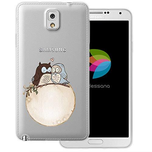 dessana Comic Eule transparente Schutzhülle Handy Case Cover Tasche für Samsung Galaxy Note 3 Eulen Pärchen (Eule Handy Cover Für Note 3)