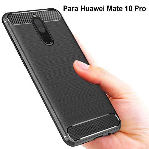 Huawei Mate 10 Pro Hülle, Vkaiy Karbonfaser Flexiblem Weich TPU Silikon Slim Case Hülle Kratzfeste Handyhülle Anti-Rutsch Schutzhülle für Huawei Mate 10 Pro- Schwarz