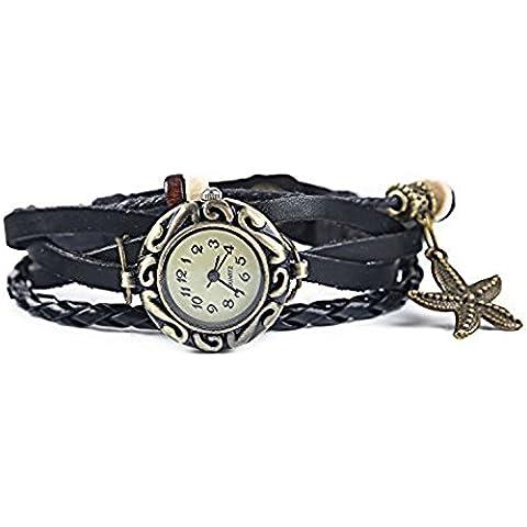 Fandecie Correa de cuero de las señoras de las estrellas de mar colgante de la armadura de madera del grano con Encanto reloj pulsera (Negro)