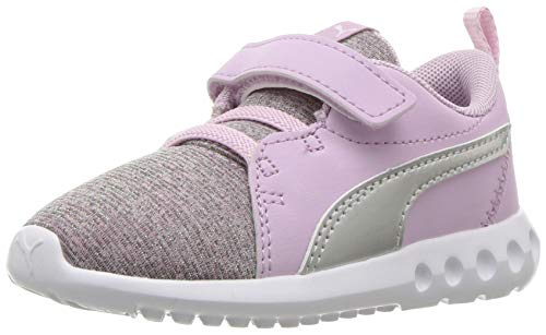 PUMA Girls  Carson 2 Velcro Sneaker  Winsome Orchid Silver White  6 M US Toddler