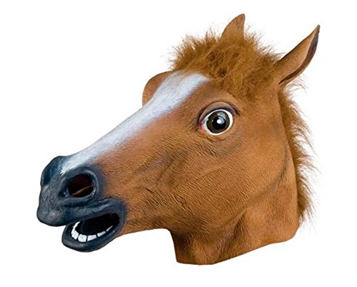 TREESTAR Halloween Maske Tier Pferd Lustige Cosplay Party Maske Latex Headwear füR Halloween, Maskerade Party, Spannende Party, Karneval (Braun)