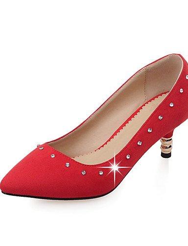 WSS 2016 Chaussures Femme-Bureau & Travail / Décontracté-Noir / Rouge / Gris-Kitten Heel-Talons / Confort / Bout Pointu-Talons-Laine synthétique gray-us9 / eu40 / uk7 / cn41