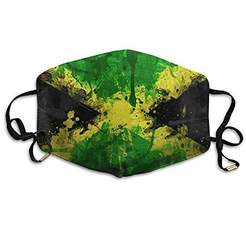 Daawqee Staubschutzmasken, Jamaica Flag Color Symbol Mask Unisex Fashion Antidust Face Mouth Mask Muffle Flu Surgical Washable Warm Reusable Ski Cycling Mask Jamaica Ski