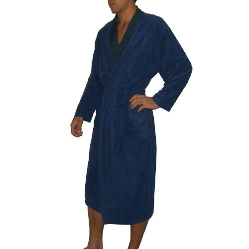 Herren Premium Quality Long Lounge Robe Schlafanzüge - ONE Größe FITS MOST  Blau ...