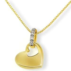 Goldmaid Damen-Halskette 9 Karat 375 Gelbgold Herz 4 Diamanten SI/H 0,02 ct. 45 cm He C3702GG375