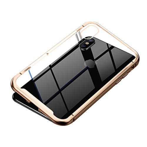 Leopard-Muster Phone Fall Für iPhone XS Max Metallic Frame + Magnetische Schutzhülle aus gehärtetem Glas (Farbe : Gold)