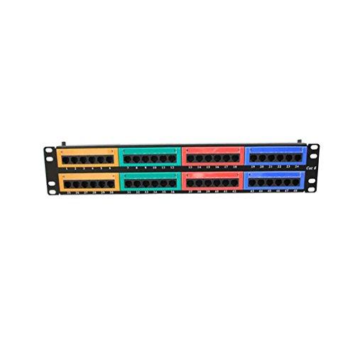 Luckiests 48 Ports CAT6 Bunte Distribution Frame Wandsprech Rackmount Patch Panel Ethernet-Kabel-Anschlüsse Netzwerk - Industrielle Rackmount