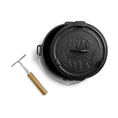 Burnhard Dutch Oven Feuertopf mit Deckel, Schmortopf aus Gusseisen, Gusstopf, Grilltopf inkl. Deckelheber John 5,6 L