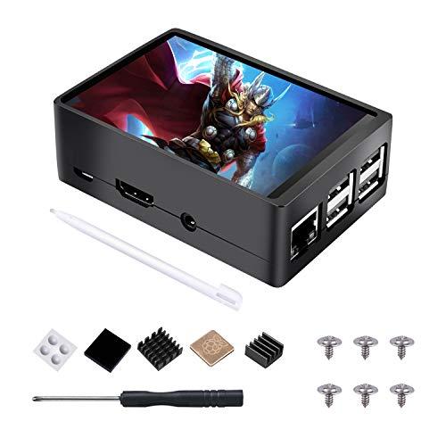 STARTO Raspberry Pi Touchscreen 3,5 Inch Zoll Display TFT Monitor LCD 320x480 Auflösung mit Gehäuse Case und 3 Stück Heatsink Kupferkühlkörper, Touch Pen für Raspberry Pi 3B + / 3B / 2B + / 2B TS11