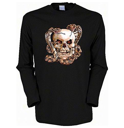 Cooles Herren Langarmshirt, Farbe: Schwarz, Biker Motiv: Skull with Snake Schwarz