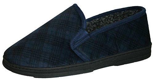 Men's kariert Slip On Dunlop Twin Gusset Slipper elastische Größen: 6-11 Dunkelblau