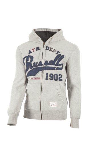 Russell Athletic, Giacca con cappuccio e cerniera Uomo, Grigio (Grau), XXL