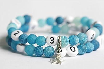 Bracelet d'allaitement avec perles en agate de couleur bleu