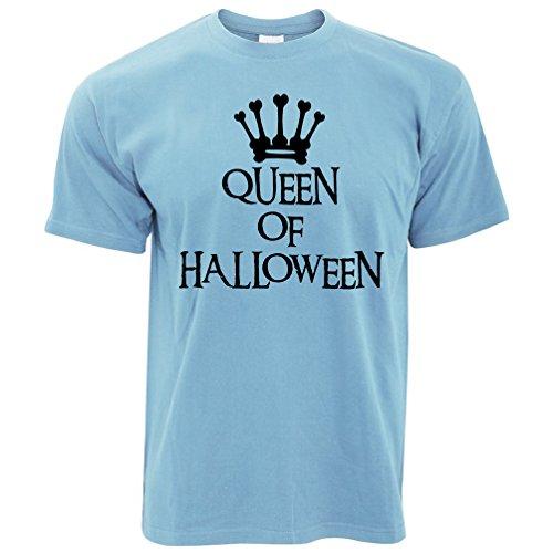 (Neuheit Spooky T-Shirt Queen of Halloween Crown Sky Blue X-Large)