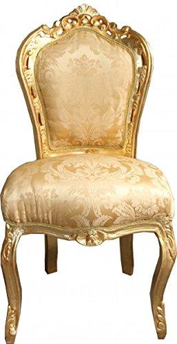 Casa Padrino Barock Esszimmer Stuhl Gold Blumen Muster/Gold ohne Armlehnen - Antik Möbel