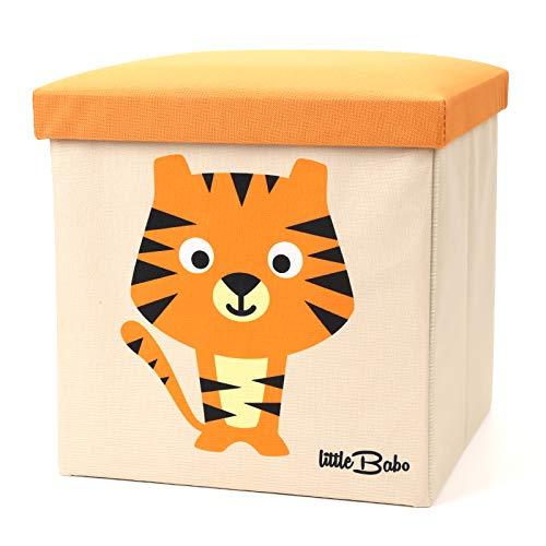 little Babo Faltbare Aufbewahrungsbox Kinder | groß & stabil zum sitzen | Spielzeug-Kiste mit Deckel | Aufbewahrung im Kinderzimmer | Regal-Korb | Storage Box | Aufbewahrungskorb Kinderzimmer | Tiger -