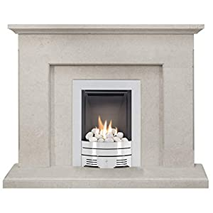 The Estoril in Limestone with Crystal Diamond Contemporary Gas Fire in Brushed Steel, 48 Inch