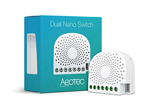 Aeotec Dual Nano Switch ON/off Controller, 2 interruttori, Z-Wave Plus, a Filo, Compatibile con Alexa