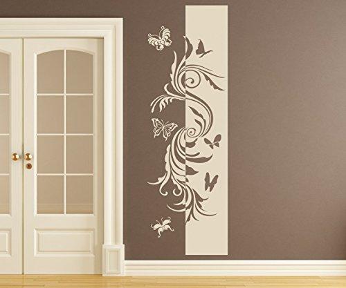 Wandtattoo Banner Blumen Ranke Schmetterlinge Deko Streifen Blüten Flur Wandaufkleber Wohnzimmer Wand Aufkleber 1U242, Farbe:Weiß glanz;Höhe Banner:120cm -