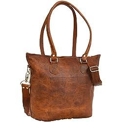 """Gusti H14 Handtasche Leder Nature """"Therese"""" Umhängetasche Shopper Damen Vintage, Braun"""