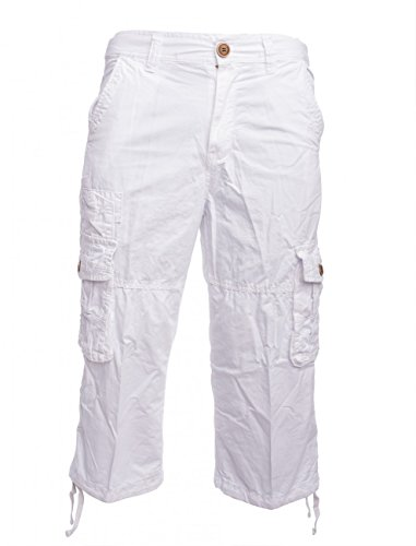 Herren Cargo-Shorts · (Casual Fit) Wadenlange 3/4 Bermuda Sommer Cargo Basic Short Freizeit Kurze Capri Hose, Walkshort in Beige, Schwarz und Weiß · H1459 in Markenqualität (Shorts Walkshorts)