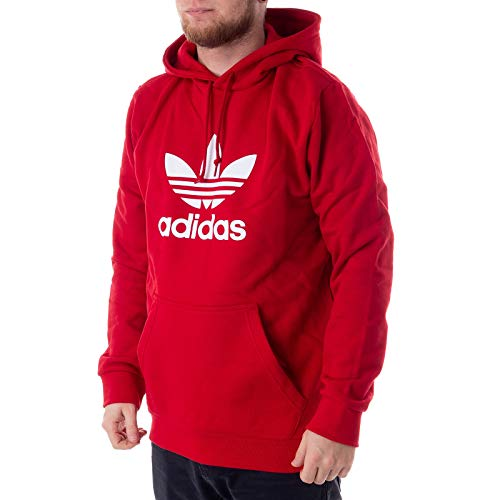 adidas Herren Trefoil Hoodie Sweatshirt, Power red, XL