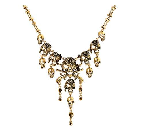 DELEY Vintage Legierung Pirat Totenkopf Skelett Quaste Kragen Lätzchen Gothic Anweisung Halskette Gold (Vintage Kostüm Schmuck Halskette)
