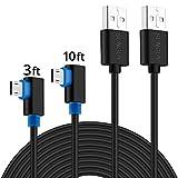 Rechts Winkel USB-Kabel, sunguy 1,6ft/Auslöser/Bockleiter/SIM2SM3W Micro USB 2.0Ladekabel Reversibel für Galaxy S7/S7Edge, Reader, Power Bank, PS4, Xbox und Mehr, 3ft+10ft - Black