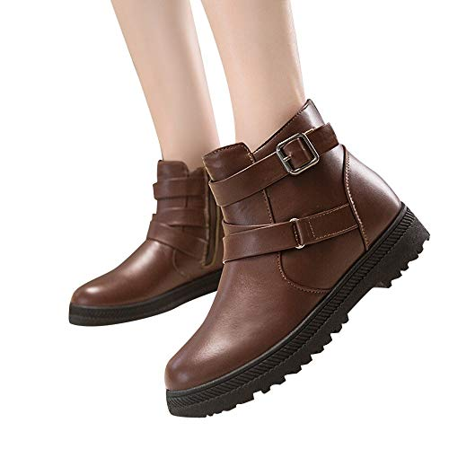 OSYARD Damen Snow Booties Ankle Stiefeletten Klassische s Lederstiefel, Frauen Warme Winter Baumwolle Shoes Runde Kappe Schuhe Schnee Stiefel Zipper Flache Boots(225/36, Braun) -