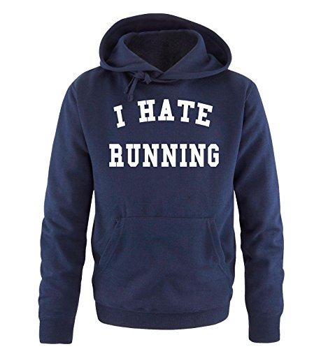 Comedy Shirts - I HATE RUNNING - Uomo Hoodie cappuccio sweater - taglia S-XXL vari colori blu navy / bianco